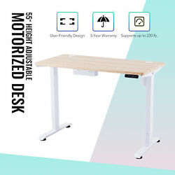 55quot; Height Adjustable Electric Standing Desk for Bedroom Office and More White $288.29