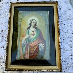 Antique Antique Curved Glass Framed Image of the Sacred Heart of Jesus $58.00