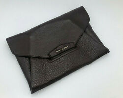 Givenchy Antigona Quilted Leather Clutch Brown NEW $235.00