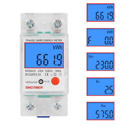 Digital LCD Kwh Wattmeter Power Consumption Energy Meter Electric Din Rail 230V $13.71