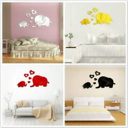 Elephant 3D Home Mirror Removable Wall Sticker Decal Mirror Stickers Decor FM $7.28