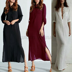 US STOCK Women Elegent Party Long Sleeve Button Up Blouson Slim Maxi Shirt Dress $17.85