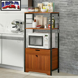 Wood Home Kitchen Bakers Rack Microwave Oven Stand Home Storage Cart Shelf Gift $40.23