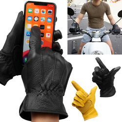 Men#x27;s Premium Deerskin Leather Touchscreen Winter Warm Motorcycle Driving Gloves $38.00