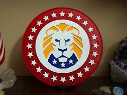 Lion Party for American Patriots red and gold 8 inch with stand Trump Lion $10.00