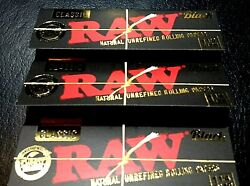Raw Classic Black Ultra Thin Rolling Papers 1 1 4 3 pk Natural Free Ship $5.39