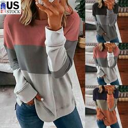 Women Casual Long Sleeve Colorblock T Shirt Blouse Loose Pullover Tunic Tee Tops $14.66