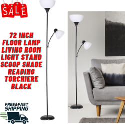 72 Inch Floor Lamp Living Room Light Stand Scoop Shade Reading Torchiere Black $21.49