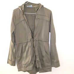 Athleta Expedition Long Fall Spring Jacket Tan XS Hoodie Hiking Light Weight $15.99