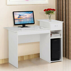 Home Desktop Computer Desk White With Drawers amp; Shelf Student Study Office Desk $27.03
