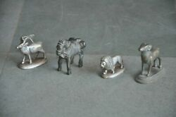 4 Pc Old Brass Different Animals Handcrafted Figurines Rich Patina $44.00
