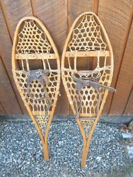 INTERESTING VINTAGE Snowshoes 38quot; Long x 10quot; with Bindings DECORATIVE $48.55