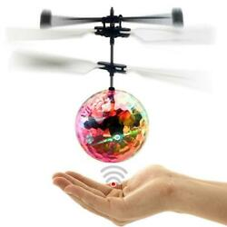 Flash Flying Ball Infrared Induction Colorful LED Disco RC Helicopter Toy SF $6.19