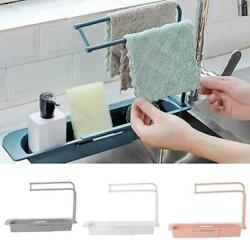 Telescopic Sink Rack Holder Expandable Storage Drain Basket for Kitchen Home Kit $9.99