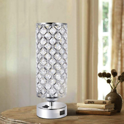 Crystal Bedside Lamp Decorative Desk Lamps Bedroom Table Light With USB Charger $46.99