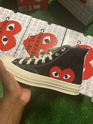 Converse All Star High Top Comme des Garcons PLAY Black 150204C Size 6x3 NEW $180.00