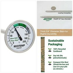 REOTEMP Backyard Compost Thermometer 20 Inch Stem with PDF Composting Guide $21.83