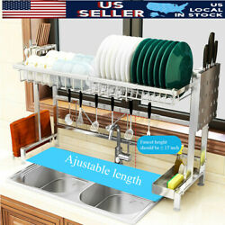 Over The Sink Dish Drying Rack Stainless Steel Home Kitchen Cutlery Holder $22.72