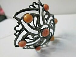 Antique Coral Stone Star Large Hat Pin #40 $89.00