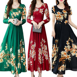 Womens Floral Long Sleeve Swing Long Maxi Dresses Slim Fit Party Evening Dress $11.80