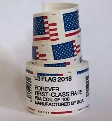 US Flag Forever Coil of 100 Postage Stamps Stamp Design May Vary SEALED NEW $42.95