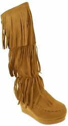 Snowball 53 Girls Knee High 3 Tier Fringe Wedged Moccasin Boots $14.99