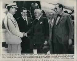 1949 Press Photo Brazil President Eurico Dutra Greeted By Truman Aide $19.99