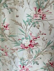 Antique Fabric Floral Insect pattern 1900 curtain panel twill weave cretonne $255.00