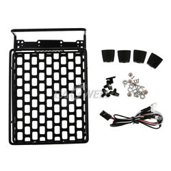 Metal 4LED Lights Roof Luggage Rack Carrier For 1:10 AXIAL SCX10 D90 RC Parts $17.99
