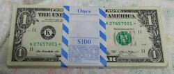 * $1.00 STAR PACK $100 FV w BEP wrapper 2013 DALLAS FED RESERVE quot;Kquot; $233.33