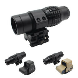 3x Dot Sight Magnifier For Rifle Mount Rail Hunting Tactical Side Flip Scope $13.70