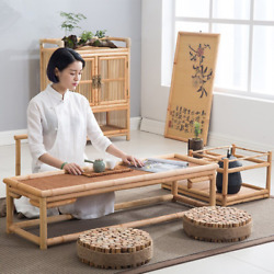 Bamboo Furniture Floor Table Asian Style Low Tea Tables Vintage Rattan Decor New $355.00