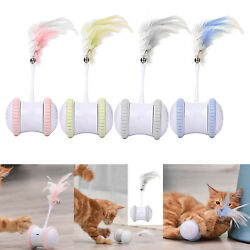 Creative Cat Toy Self Rotating Tumbler Feather Teaser Electronic Playing Toy $24.03