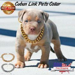 Pet Dogs Silver and Gold Chain Collar Curb Cuban Link Puppy Cat Necklace 2pack $13.99