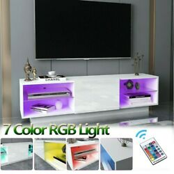 63#x27;#x27; TV Stand Unit Cabinet Console Table RC with Colourful LED Lights High Gloss $179.99