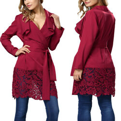 Fashion Women Red Long Sleeve Solid Lace Casual Party Tunic Mini Shirt Dress US $18.99
