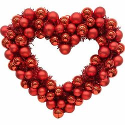 """Red Heart Ornament and Tinsel Wreath Valentine's Day Decoration 16"""" Wide $15.99"""