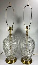 Vintage Pair Lamps Crystal Table Lamps Large Leaf Pattern 3 Way Beautiful VGC $145.00