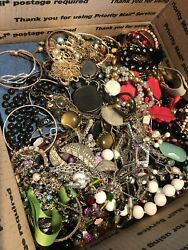 Huge 20 lbs vintage Modern jewelry lot Craft pieces Harvest and wearable $120.00