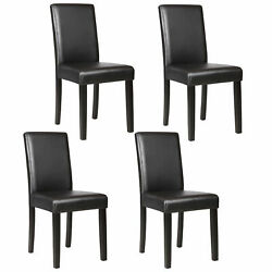 Dinette Room Black Leather Backrest Set of 4 Dining Chair Elegant Design Kitchen $35.99