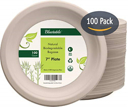 Compostable Plates 7 Inch Disposable Paper Plates Made from 100% Sugarcane $23.23
