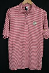 FootJoy Mens Sz Medium Red Stripe Short Sleeve Polo Shirt PGA Western Cup Team $34.99