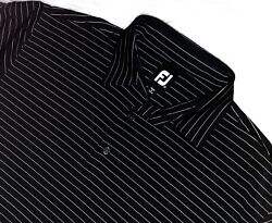 Footjoy golf polo shirt large striped short sleeve FJ black $17.99