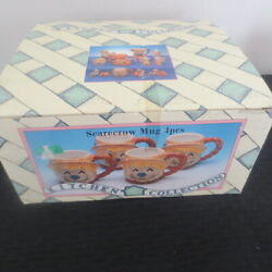 1997 Youngs International Kitchen Collections Scarecrow Mugs New 4 Piece Set $44.99