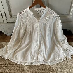 L Boho Battenburg White Lace Long Sleeve Blouse Vtg 70s Insp Top Womens LARGE $54.50