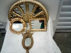 Small Golden Decorative Wall Mirrors Set of 4 $39.99