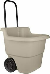 Suncast 2 Wheel Resin Rolling Lawn amp; Utility Cart with Handle Brown 15.5 Gal $47.90