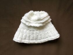 Handmade Knit Baby Winter Hat White New $5.00