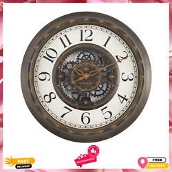 Indoor Wall Clock Home Room Decoration Aged Bronze Arabic Industrial Gear 15.5quot; $15.99