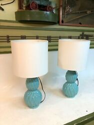 2 MCM Mid Century Turquoise Diamond Ribbed Retro Style Pair Lamps Reproductions $75.00